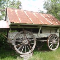 covered wagon  on blocks!